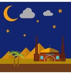 Mosque on sand dunes vector