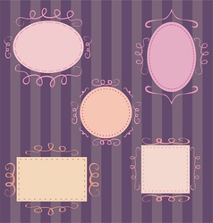 Set of cute hand-drawn retro frames vector image vector image