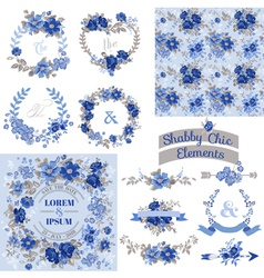 Vintage Floral Set - Frames Ribbons Backgrounds vector image