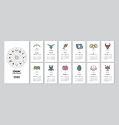 2020 monthly zodiac calendar with star sign page vector