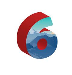 3d number six of 3d font vector image