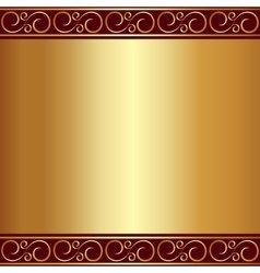 abstract gold plate background with vignettes vector image