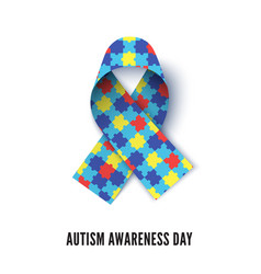 Autism awareness month ribbon realistic vector
