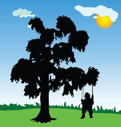 Baby on a swing with tree silhouette vector