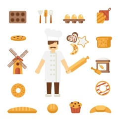 Baker icons flat vector