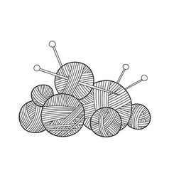 ball of yarn with knitting needles vector image