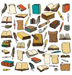 Big set books and pen vector