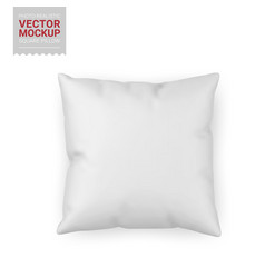 blank white square pillow mockup vector image