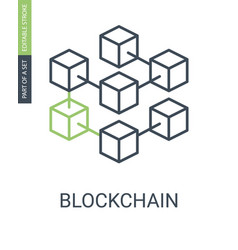 blockchain icon consists of blocks connected in vector image