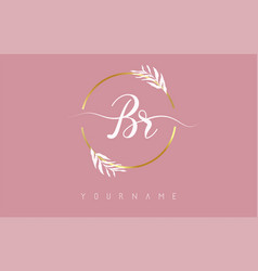 Br b r letters logo design with golden circle vector
