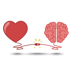 Brain and heart interactions concept best teamwork vector