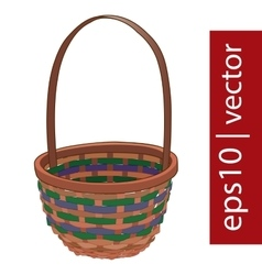Brown Easter wicker basket handmade vector