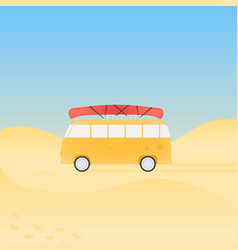 bus for travel with canoe on the beach vector image