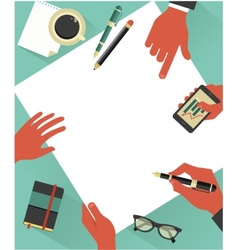 Business meeting background with hands vector image vector image