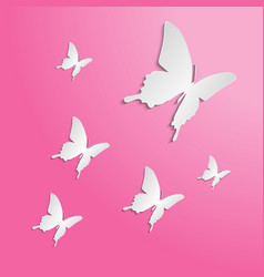 butterflies paper cut on the color background vector image