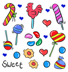Candy sweet food in doodle style vector
