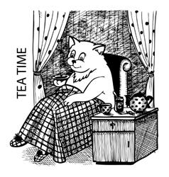 Cat drinking tea vector