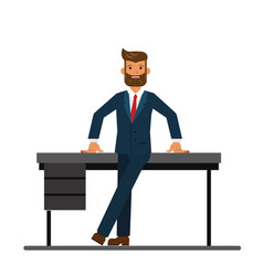 chairman of the board leaning on a table in the vector image