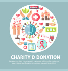 Charity and donation agitative promo poster with vector