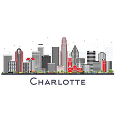 Charlotte nc city skyline with gray buildings vector