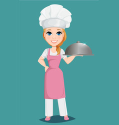 Chef woman in pink apron and cook hat holding vector