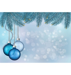 Christmas background with balls and fir branches vector image
