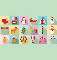 christmas fair icon set flat style vector image