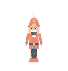 christmas nutcracker or vintage soldier toy flat vector image