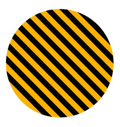 Circle yellow black diagonal stripes safety stripe vector