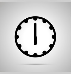 clock face showing 6-00 simple black icon on vector image