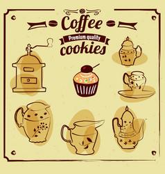 coffee grinder teapot cup sugar bowl service vector image