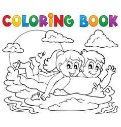 Coloring book summer activity 1 vector