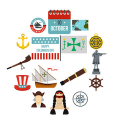 columbus day icons set flat style vector image