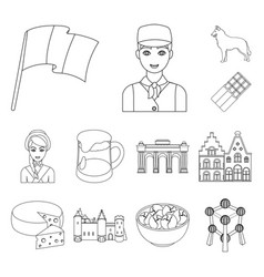 Country belgium outline icons in set collection vector
