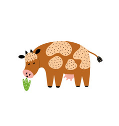 Cow eating grass isolated element cute farm vector