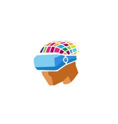 creative colorful helmet head digital logo vector image