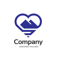 creative mountain and love outline logo concept vector image