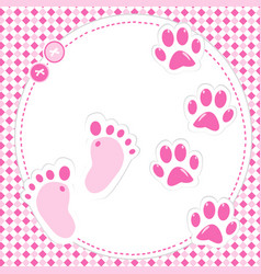 cute babygirl footprint and paws vector image