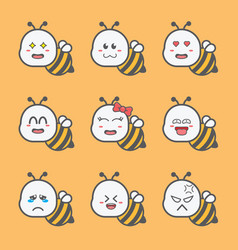 Cute bee mascot with various vector