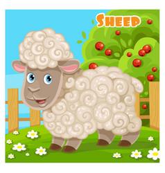 cute cartoon sheep on a farm background vector image