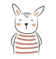 cute doodle bunny simple hand drawn vector image