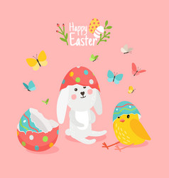cute easter card with pets vector image