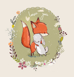 Cute little hare with fox vector