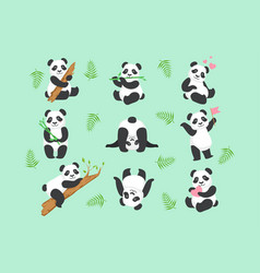 cute panda character in different situations set vector image
