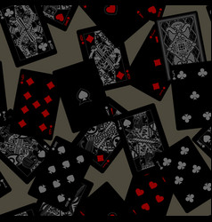 dark playing cards seamless pattern background vector image