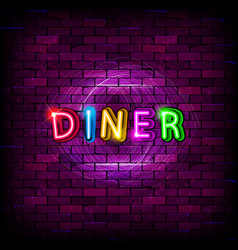 diner neon sign on brick wall vector image