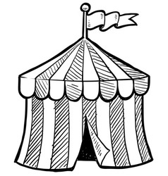 doodle circus tent vector image