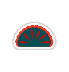Eastern panna cotta sticker vector