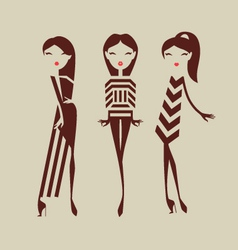Fashion girls posing isolated on light background vector