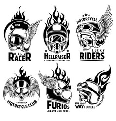 Fiery motorcycle skull helmet logos set vector